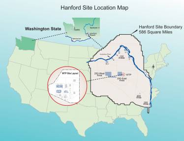A map showing the location of the Hanford Vit Plant